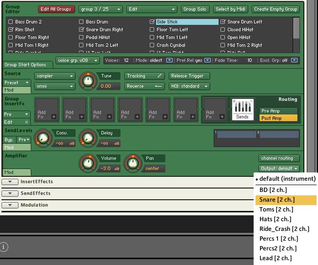 Using Kontakt Drum Outputs
