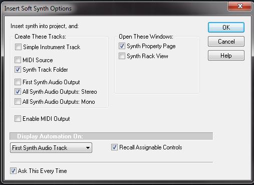 Sonar Synth Options